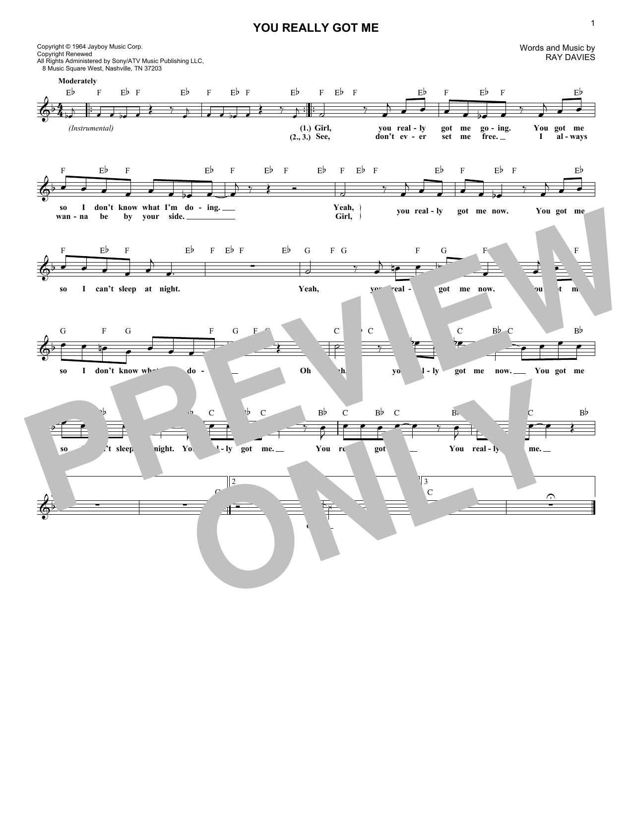 You Really Got Me (Lead Sheet / Fake Book)