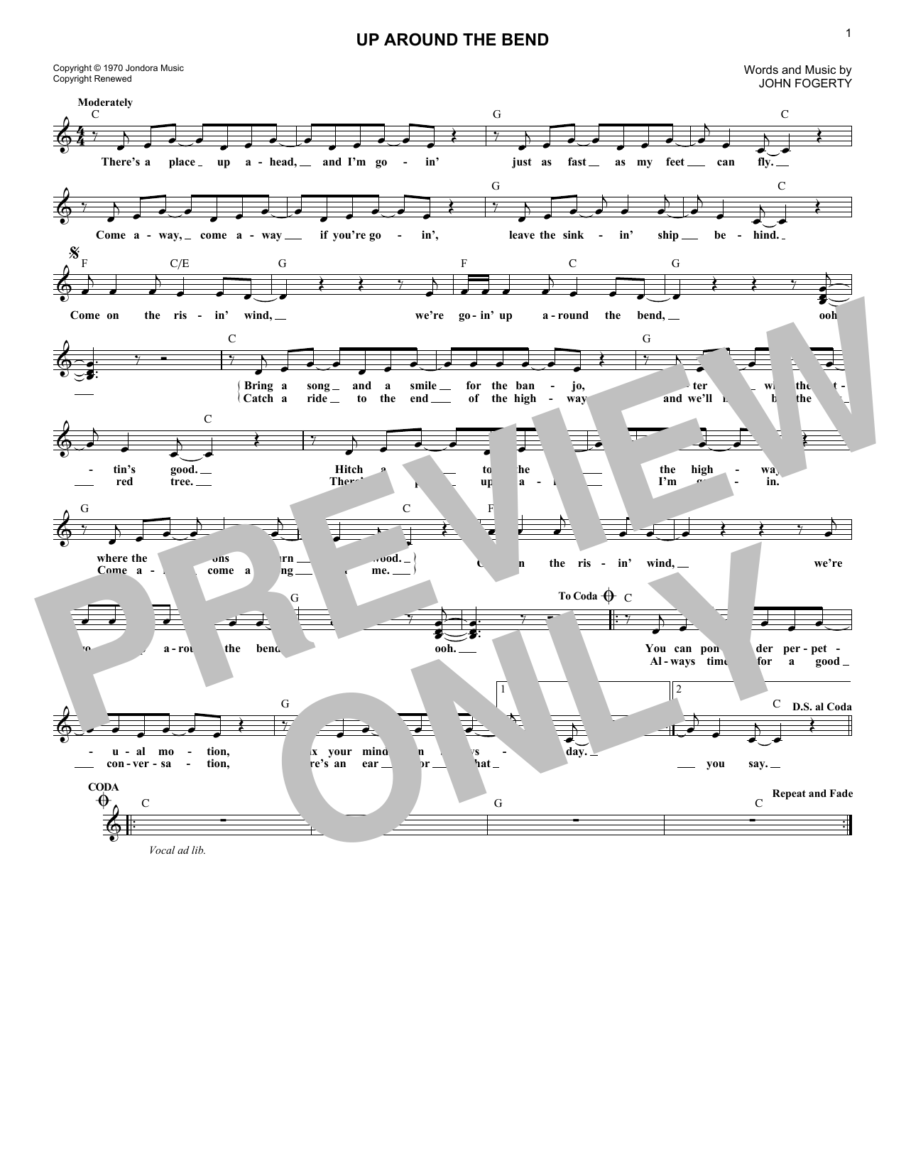 Up Around The Bend (Lead Sheet / Fake Book)