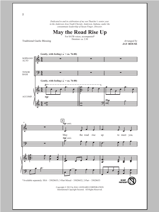 Partition chorale May The Road Rise Up de Jay Rouse - SATB