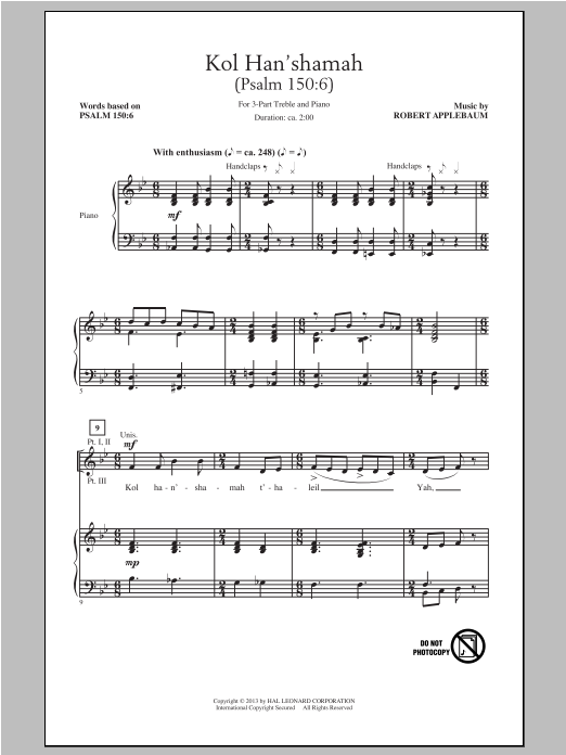 Kol Han'shamah Sheet Music