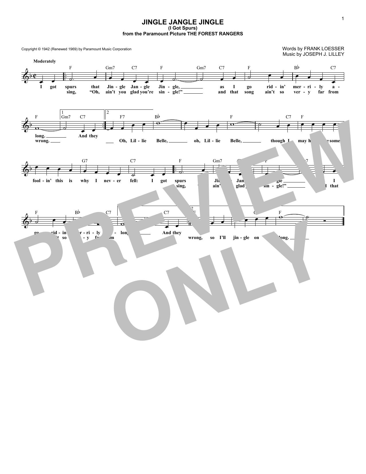 Jingle Jangle Jingle (I Got Spurs) (Lead Sheet / Fake Book)