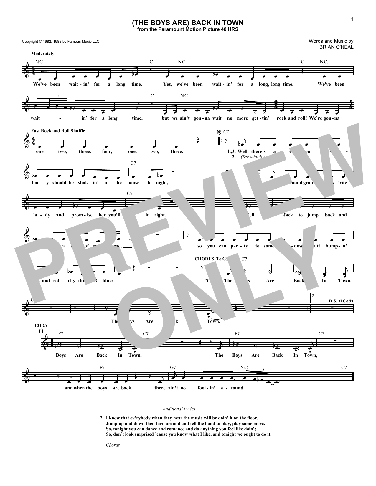 (The Boys Are) Back In Town Sheet Music