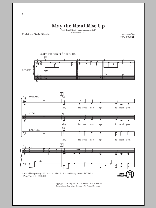 May The Road Rise Up (arr. Jay Rouse) Sheet Music