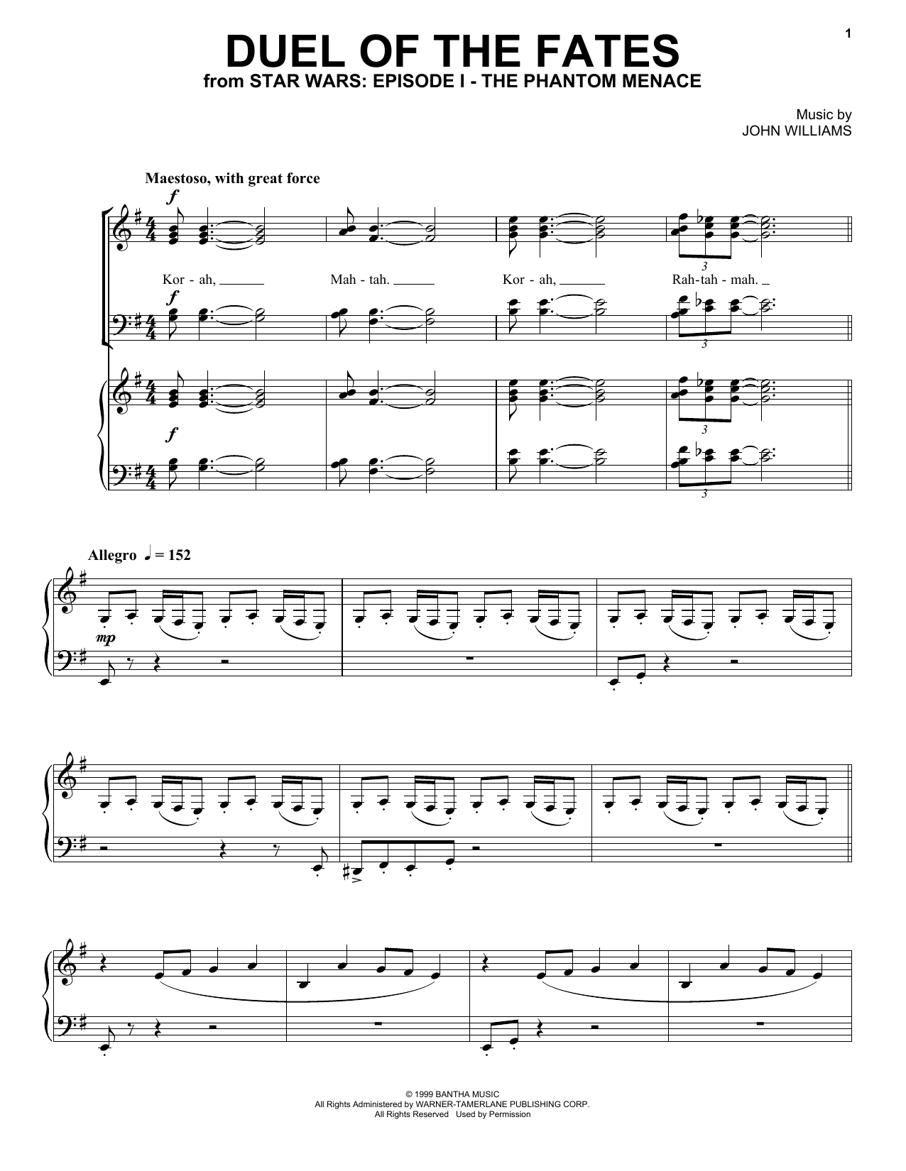 Duel Of The Fates Sheet Music