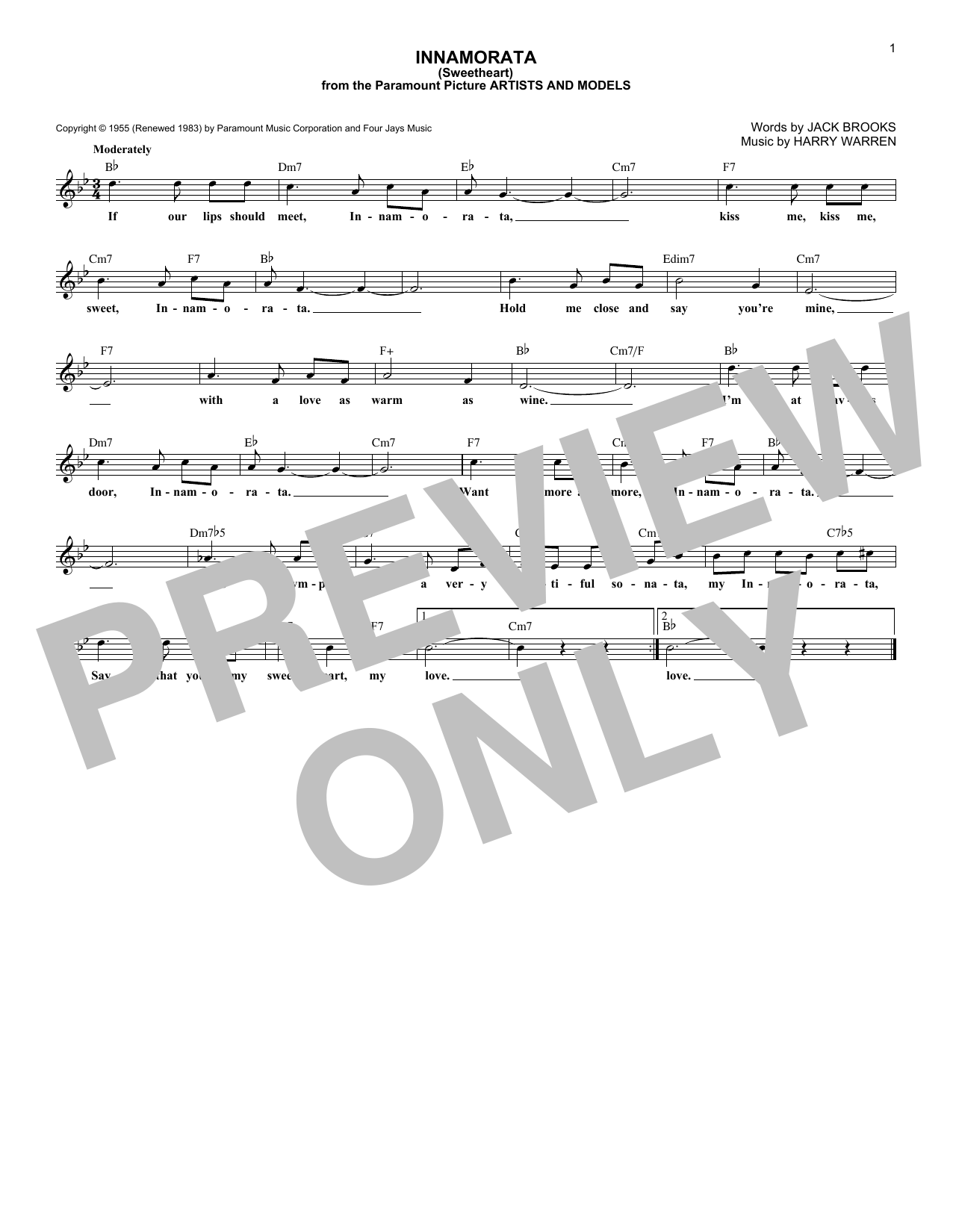 Innamorata (Sweetheart) Sheet Music