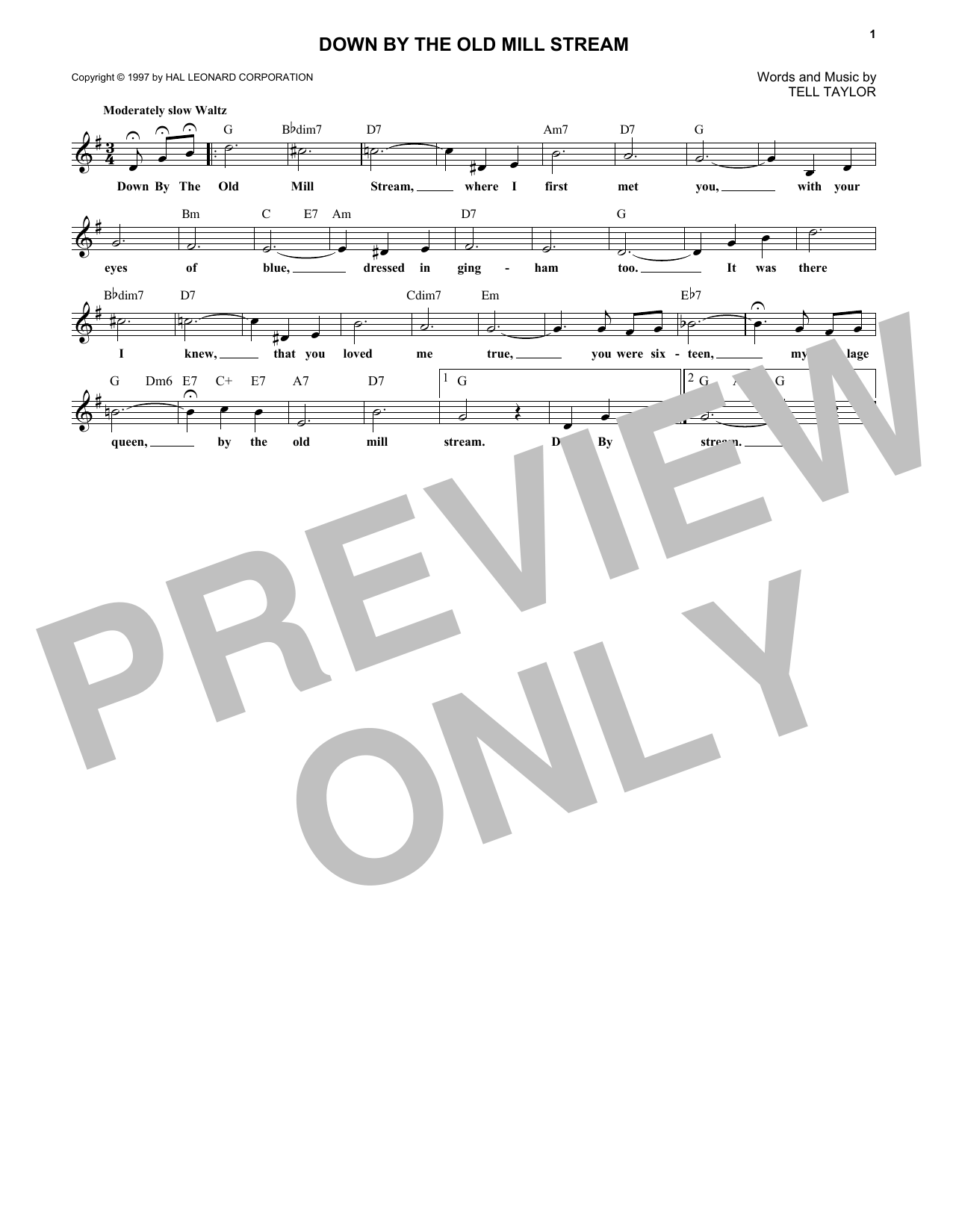 Down By The Old Mill Stream Sheet Music