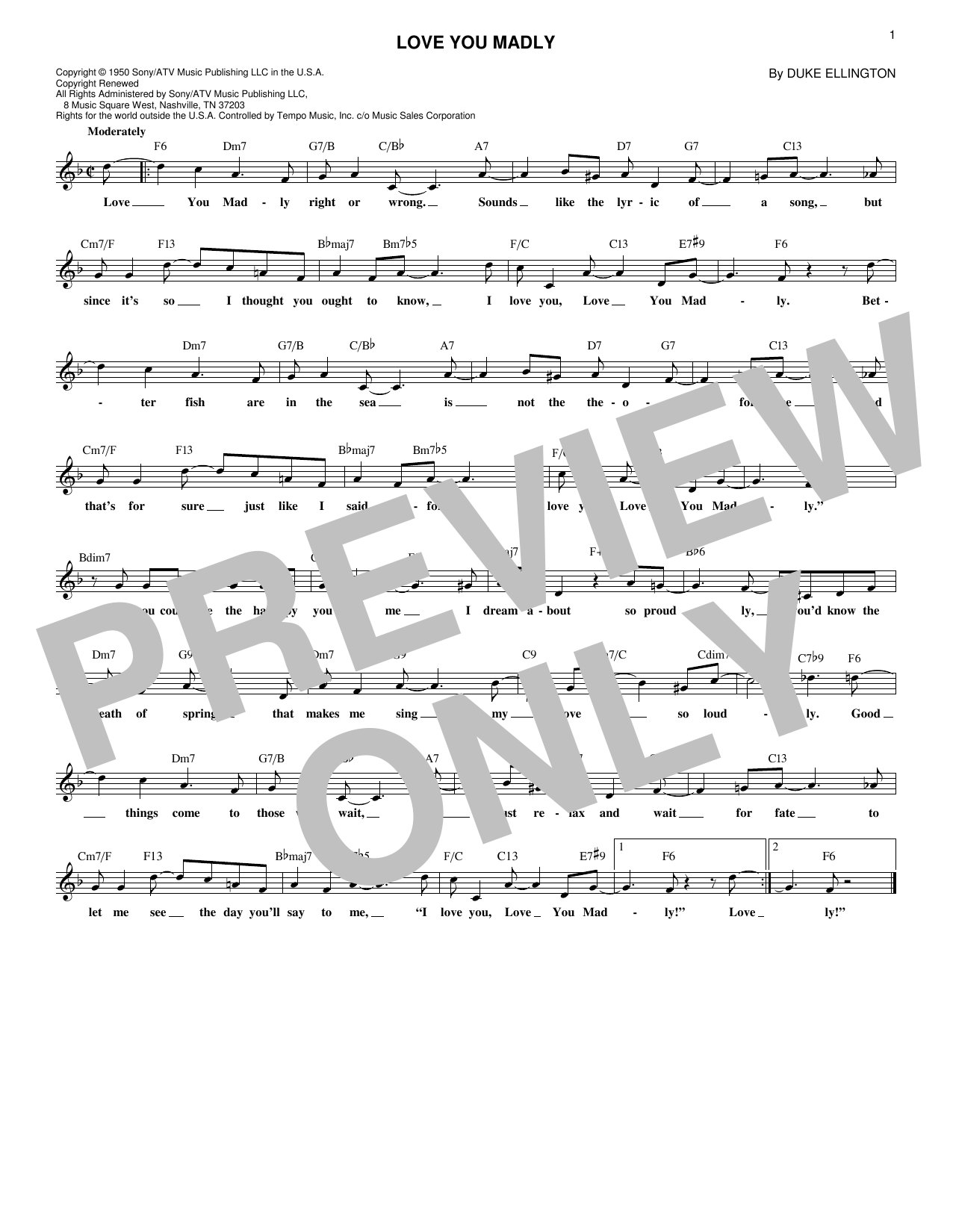 Love You Madly Sheet Music