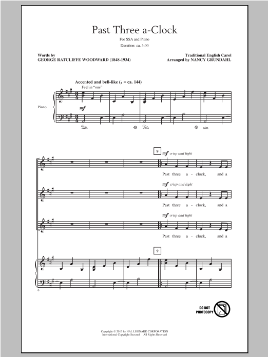 Past Three A Clock (arr. Nancy Grundahl) Sheet Music