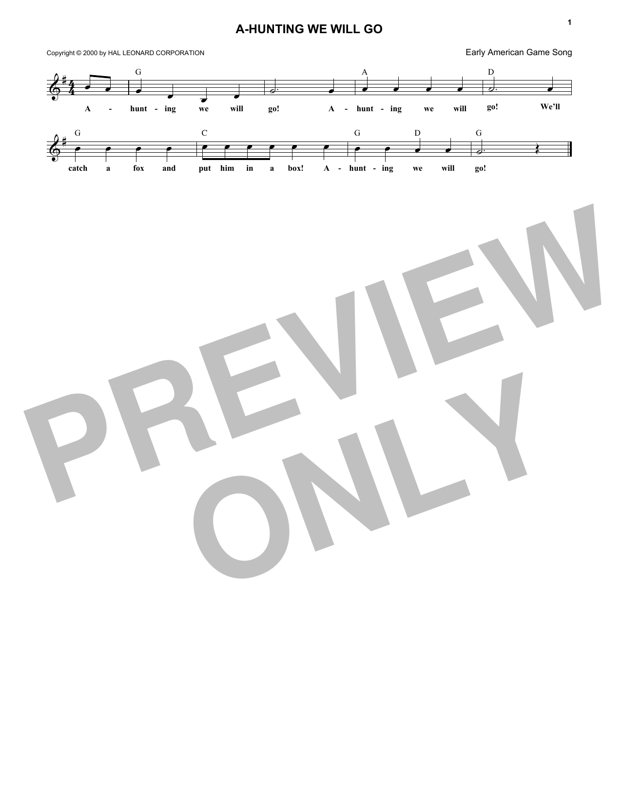 A-Hunting We Will Go (Lead Sheet / Fake Book)