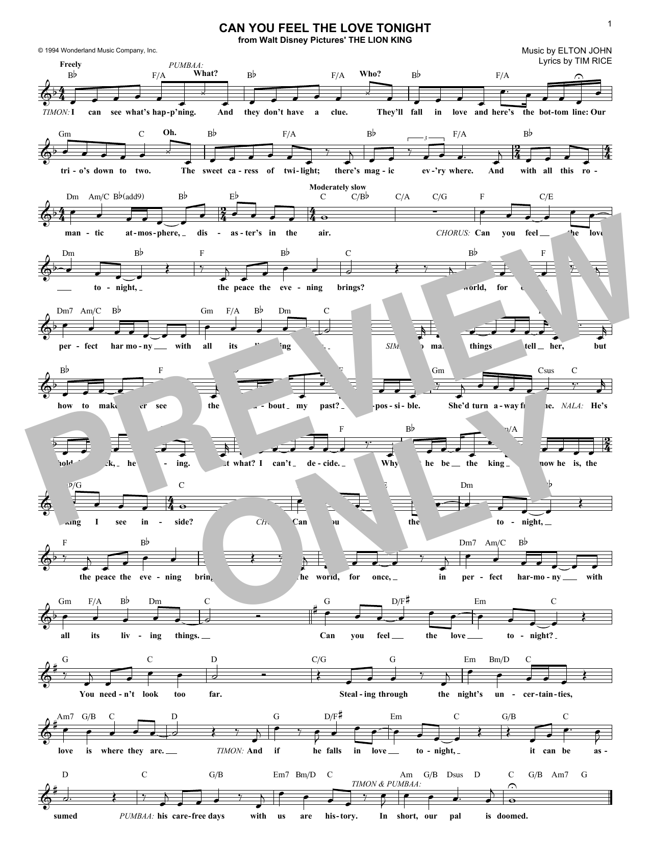 Can you feel the love tonight chords by elton john melody line can you feel the love tonight sheet music hexwebz Gallery