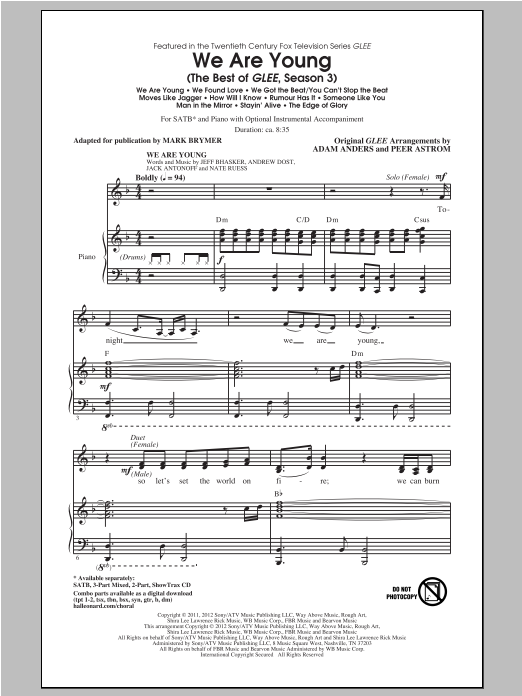We Are Young (The Best Of Glee Season 3) (Medley) (SATB Choir)