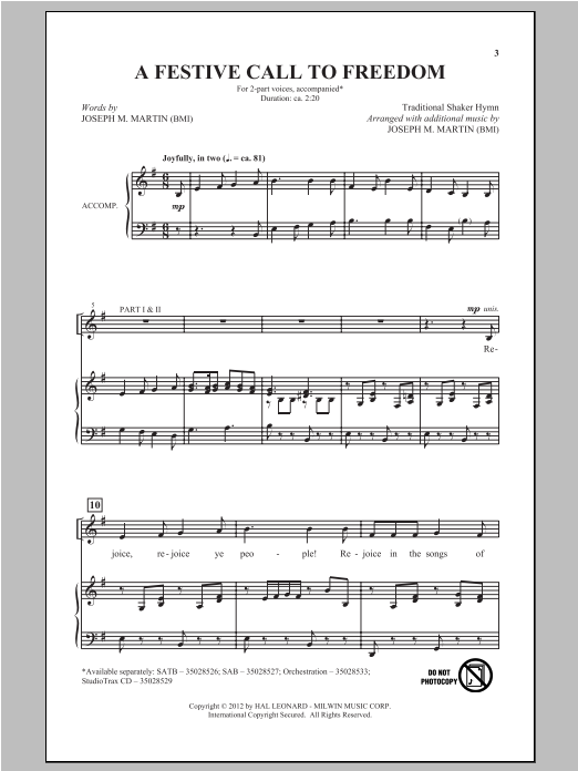 A Festive Call To Freedom Sheet Music