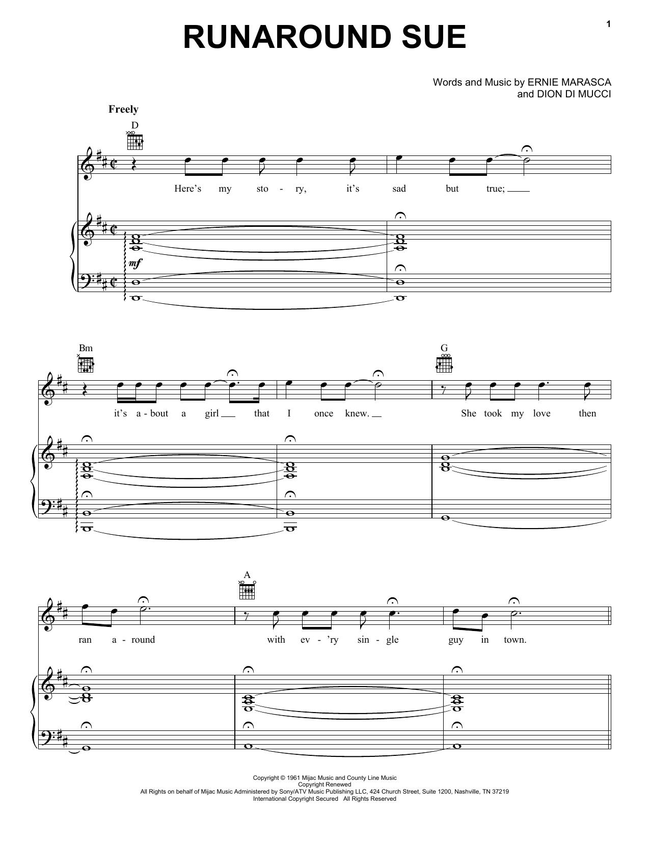 Partition piano Runaround Sue de Dion - Piano Voix Guitare (Mélodie Main Droite)
