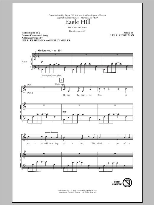 Partition chorale Eagle Hill de Lee R. Kesselman - 2 voix