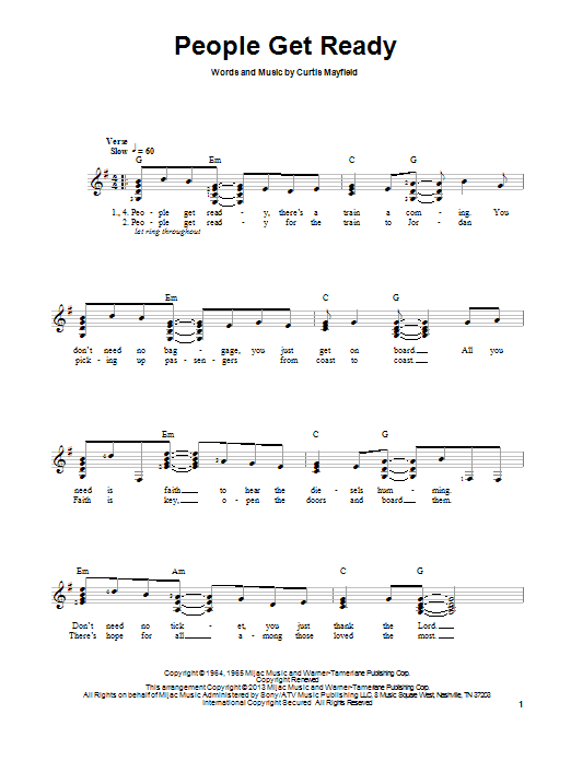 Tablature guitare People Get Ready de Bob Marley - Tablature guitare facile