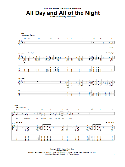 Tablature guitare All Day And All Of The Night de The Kinks - Tablature Guitare