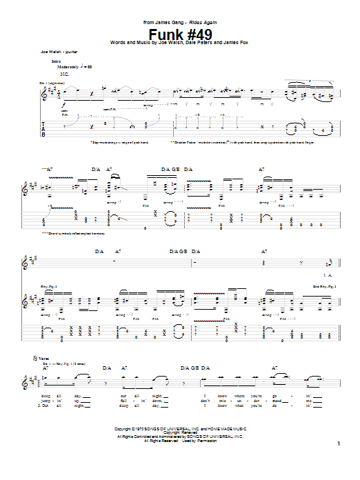 Tablature guitare Funk #49 de The James Gang - Tablature Guitare