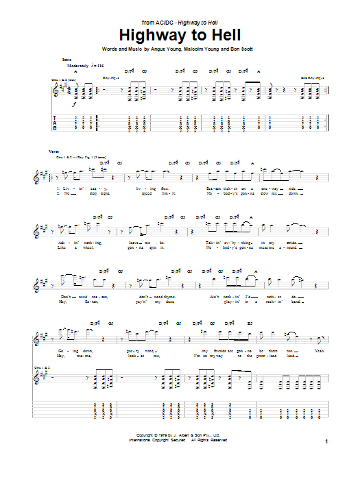 Tablature guitare Highway To Hell de AC/DC - Tablature Guitare