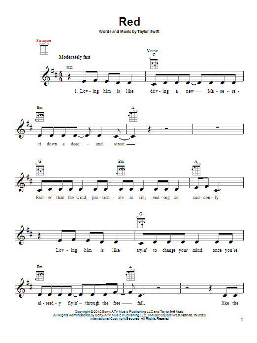 Ukulele ukulele tabs taylor swift : Red sheet music by Taylor Swift (Ukulele – 94426)