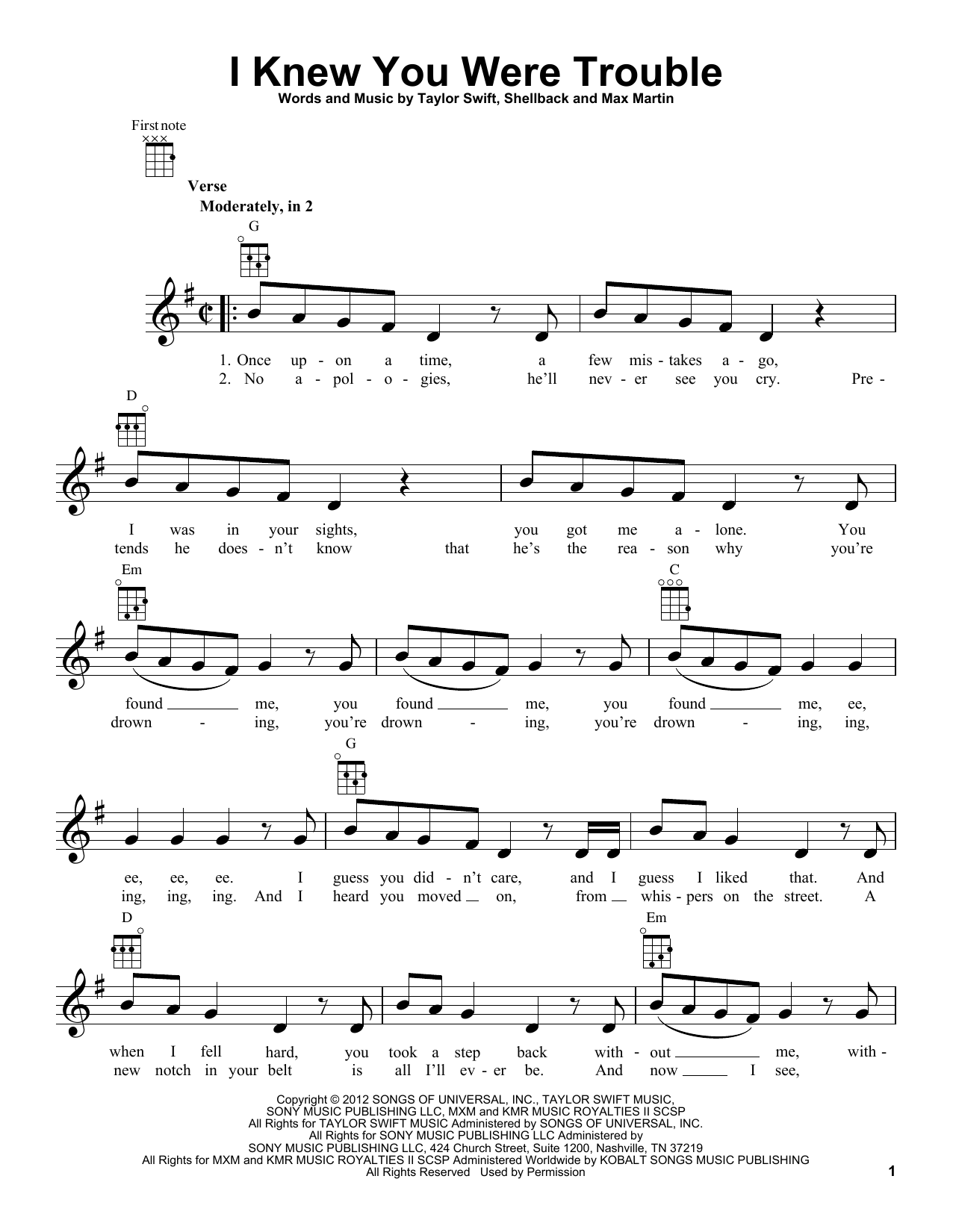 Ukulele ukulele tabs taylor swift : Ukulele : ukulele tabs wildest dreams Ukulele Tabs Wildest Dreams ...