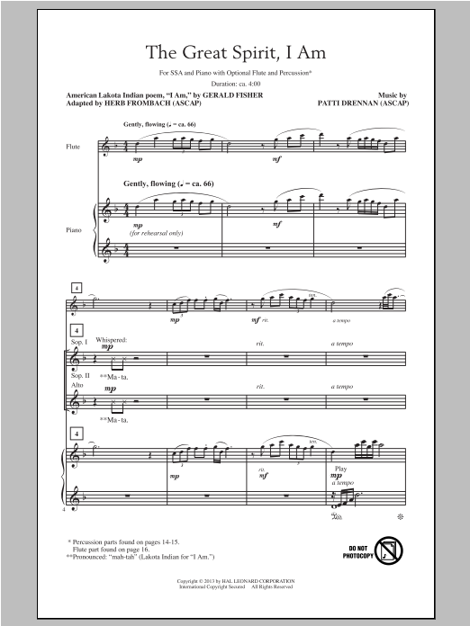 The Great Spirit, I Am Sheet Music