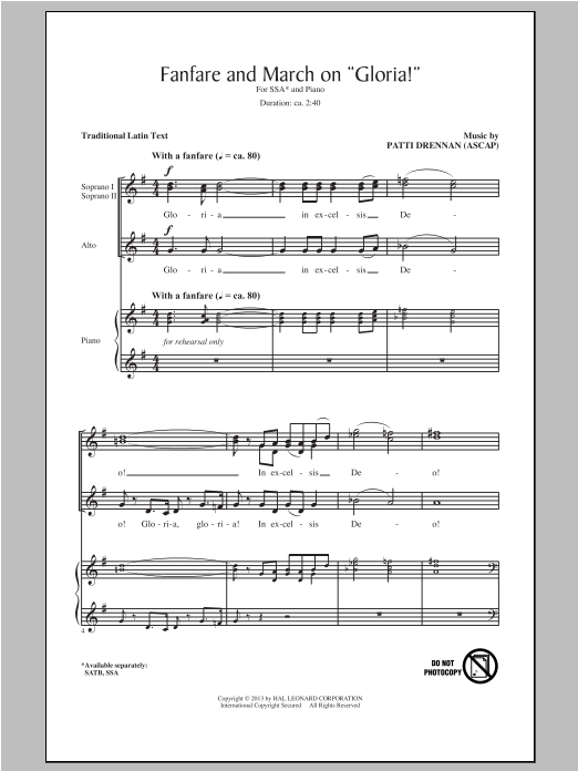 "Fanfare And March On ""Gloria"" Sheet Music"