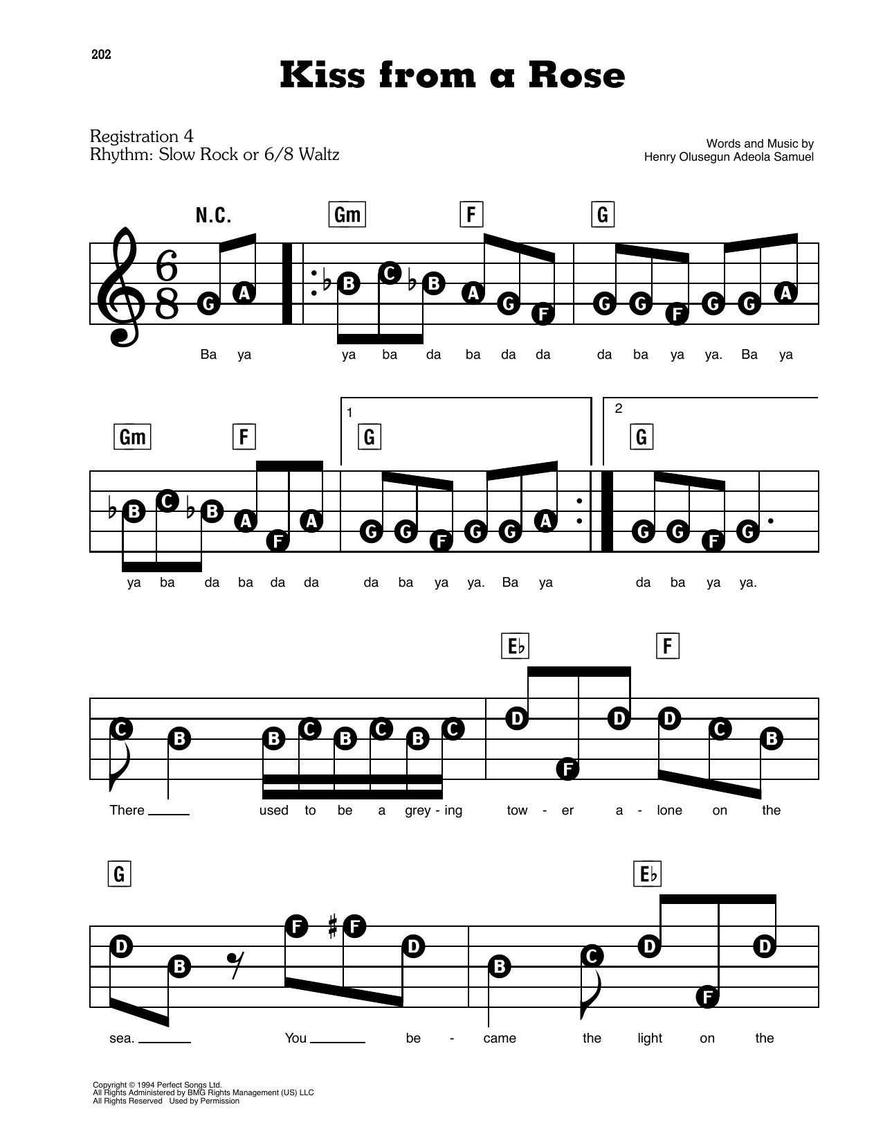 Kiss From A Rose Sheet Music   Seal   E Z Play Today
