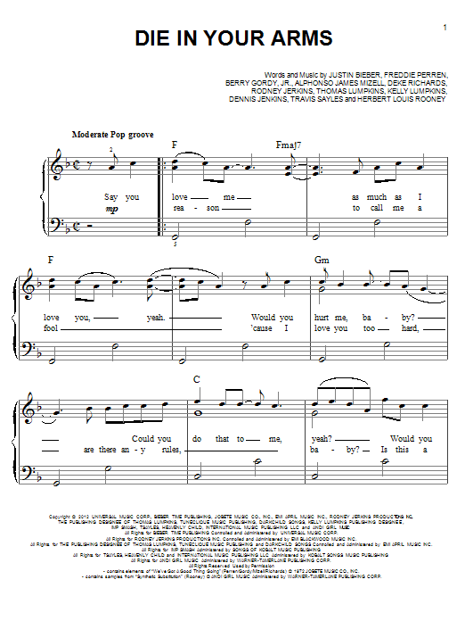 Die In Your Arms Sheet Music