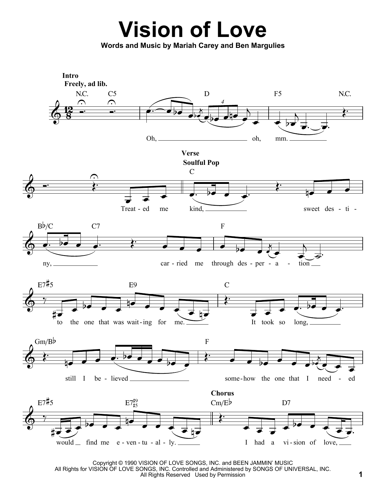 Vision Of Love Sheet Music