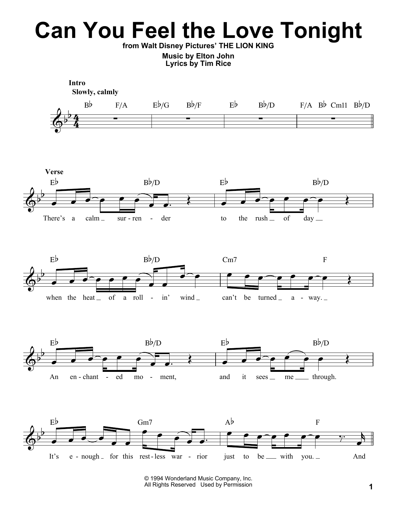 Can You Feel The Love Tonight (from The Lion King) Sheet Music