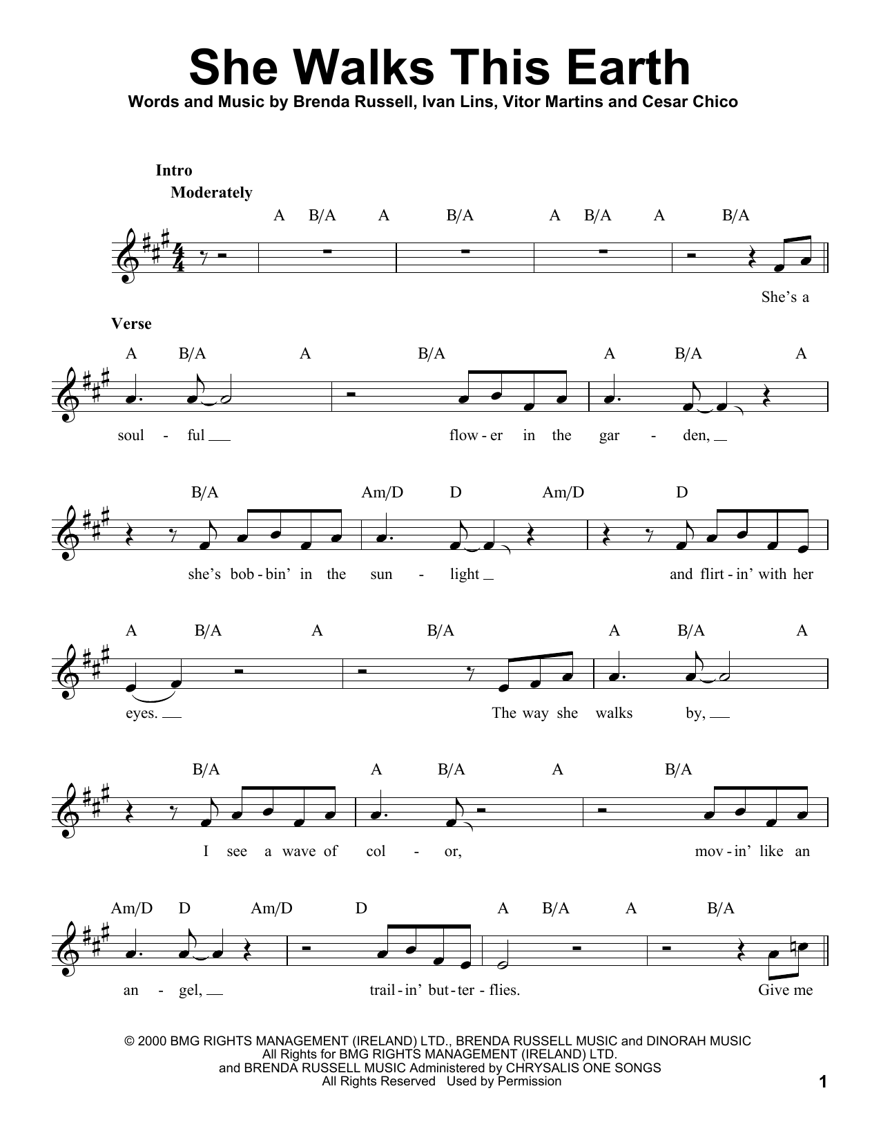 She Walks This Earth Sheet Music