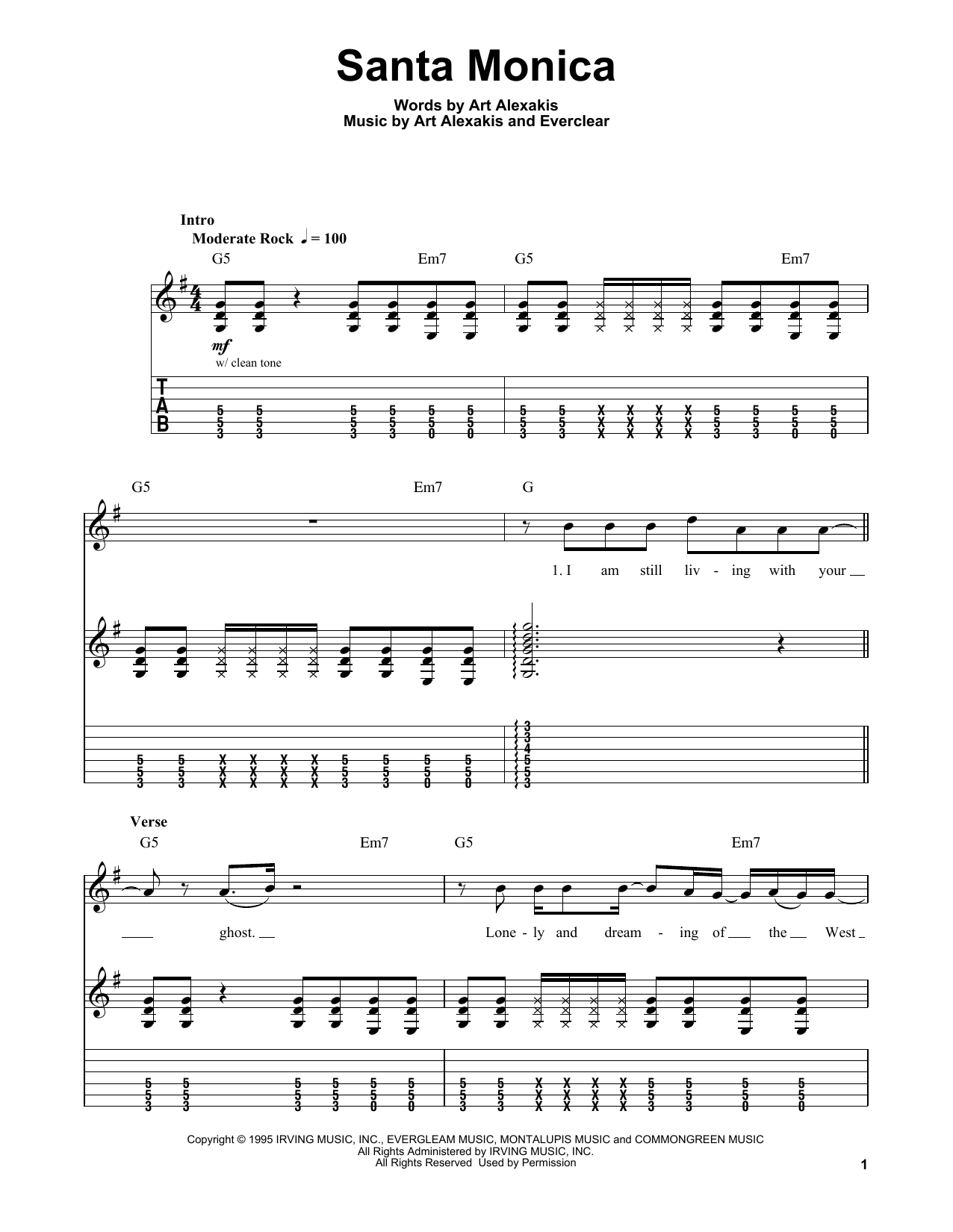 Santa Monica (Easy Guitar Tab)