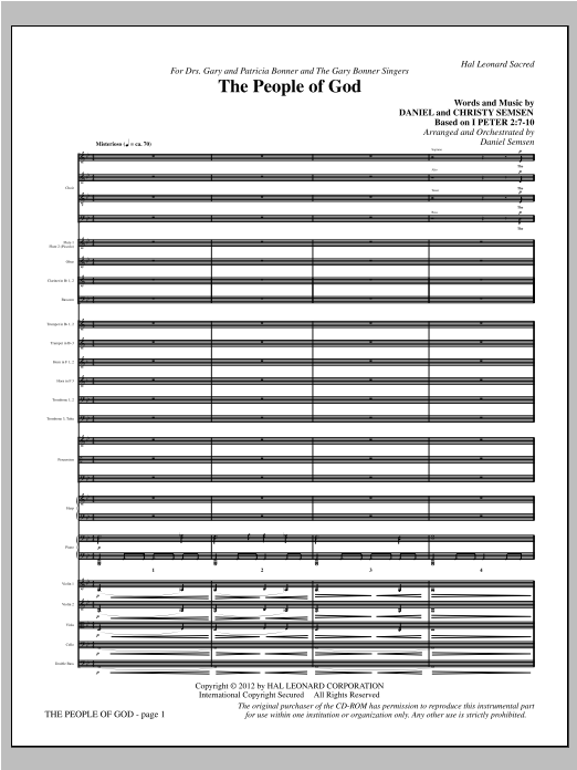 The People Of God (complete set of parts) sheet music for orchestra/band by Christy Semsen and Daniel Semsen. Score Image Preview.