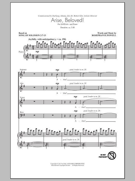 Partition chorale Arise, Beloved! de Rosephanye Powell - SATB