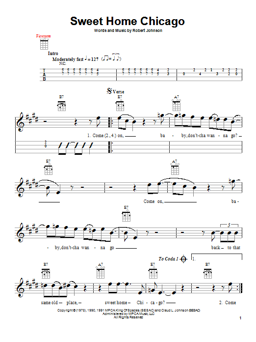 Tablature guitare Sweet Home Chicago de Robert Johnson - Ukulele