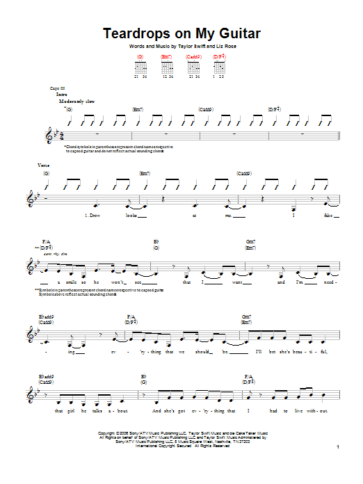 Teardrops On My Guitar Sheet Music