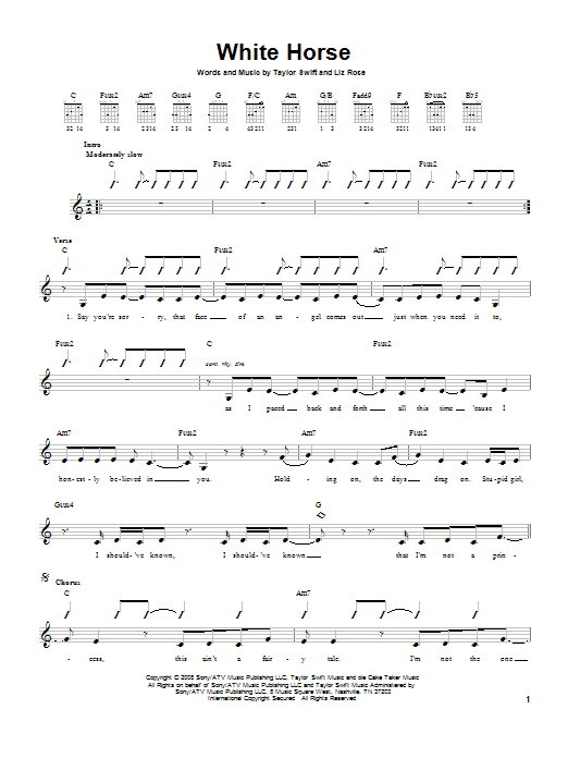 Tablature guitare White Horse de Taylor Swift - Tablature guitare facile