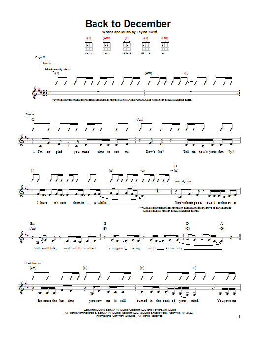 Back To December Sheet Music