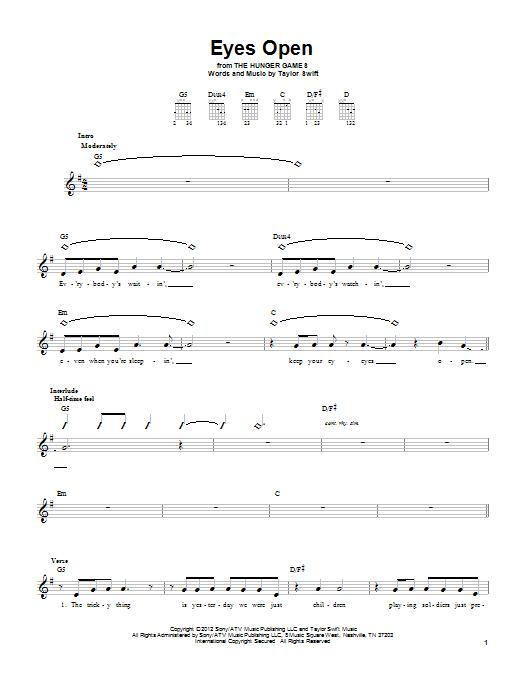 Tablature guitare Eyes Open de Taylor Swift - Tablature guitare facile