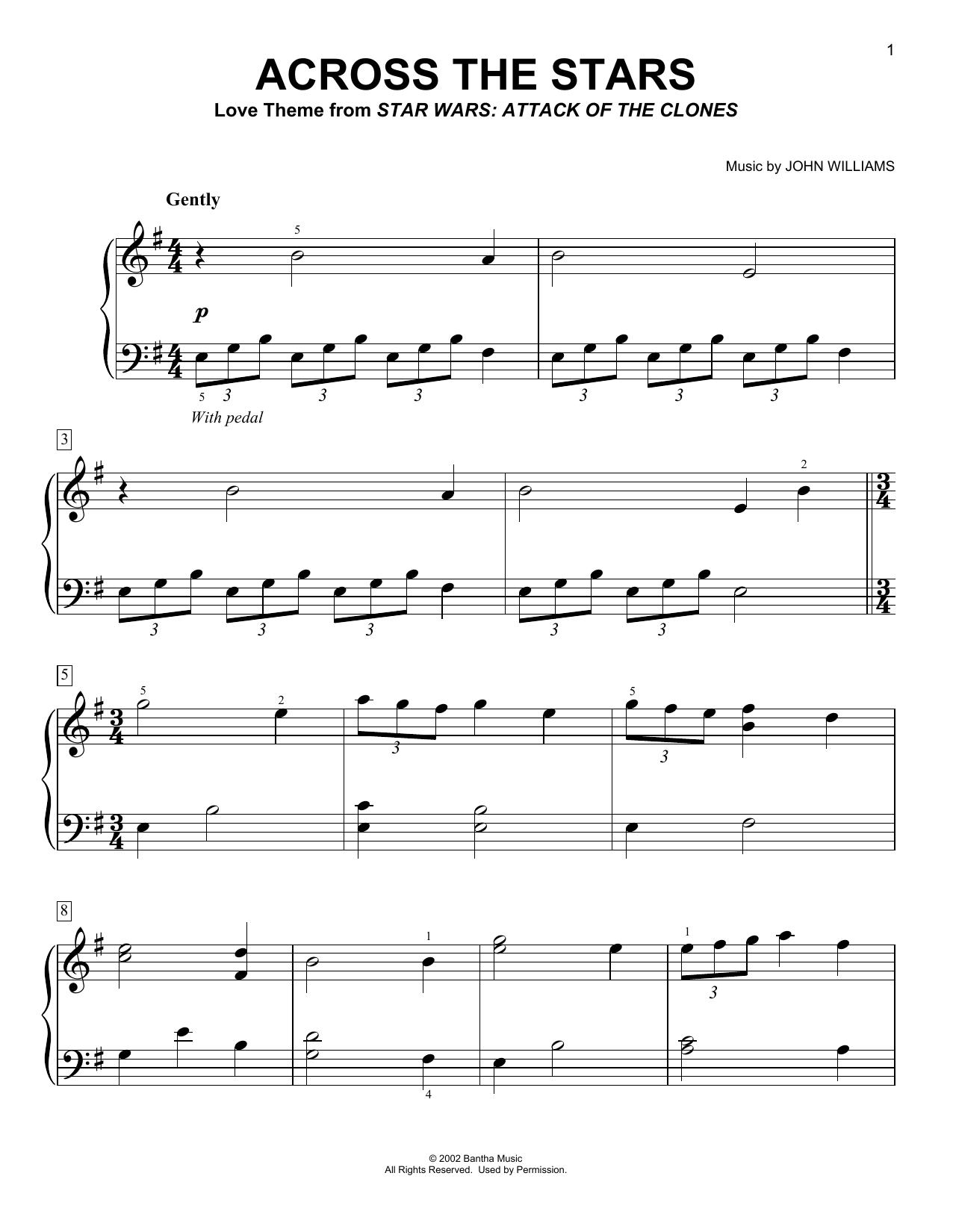 Partition piano Across The Stars de John Williams - Piano Facile