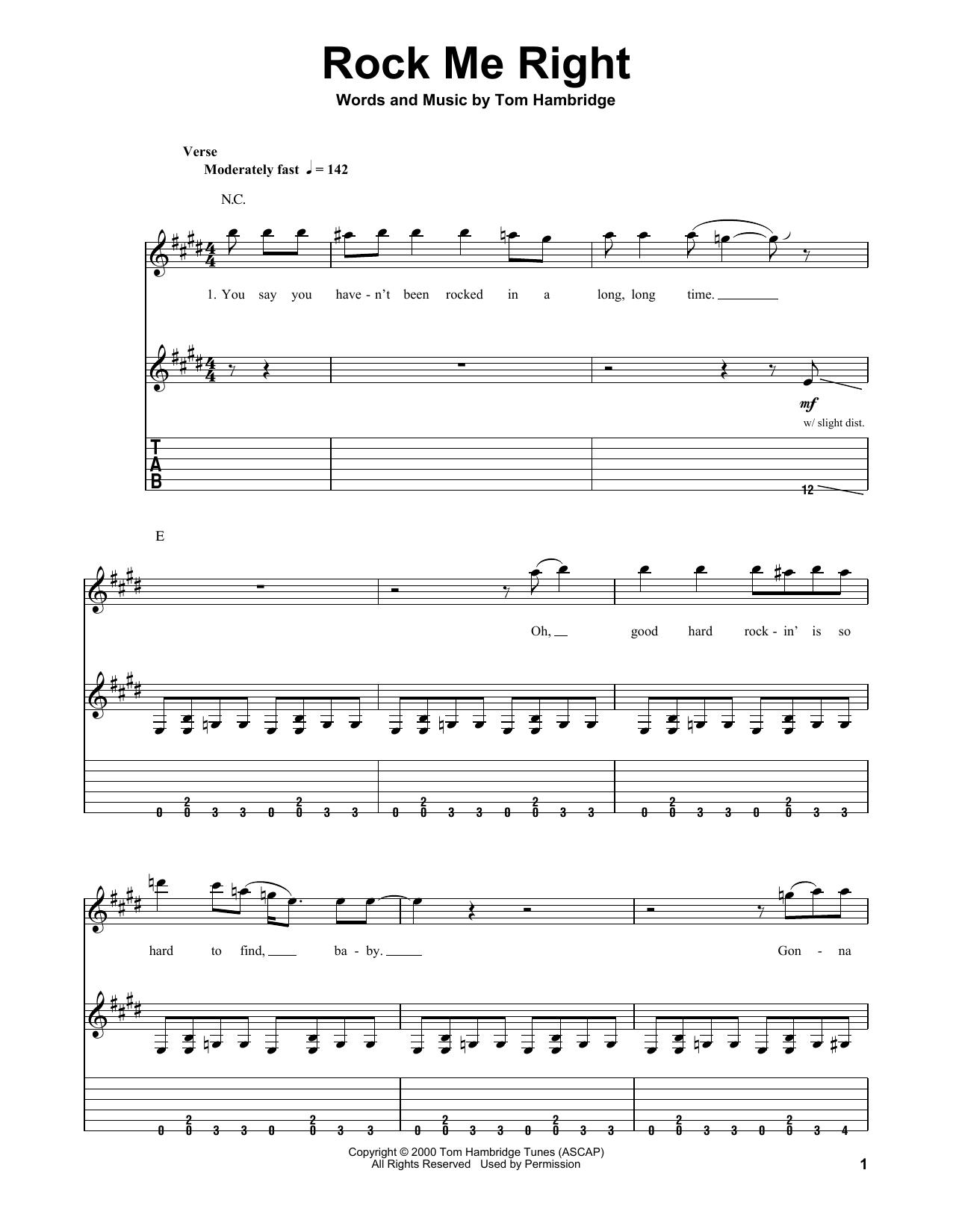 Rock Me Right (Guitar Tab (Single Guitar))