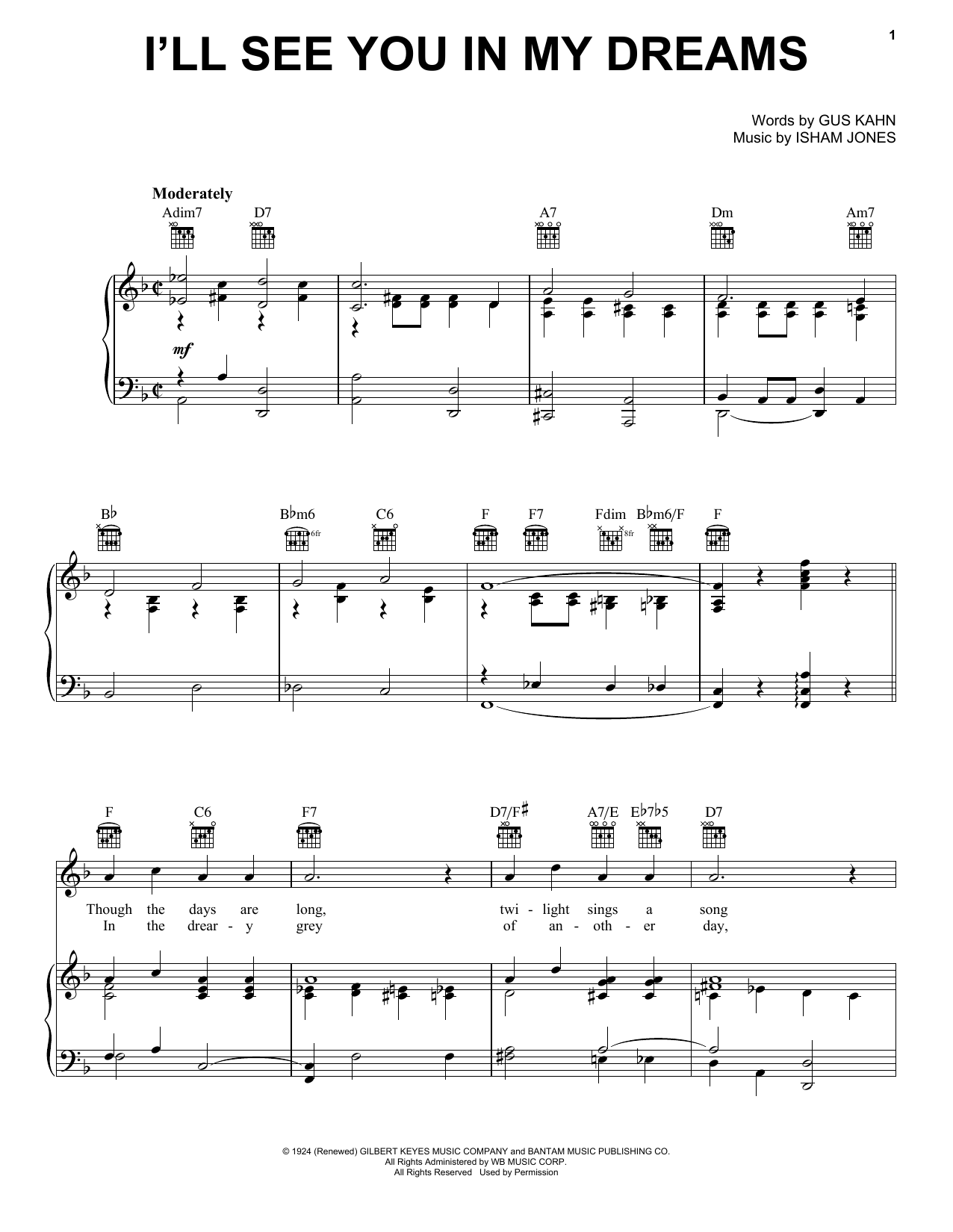 I'll See You In My Dreams Sheet Music