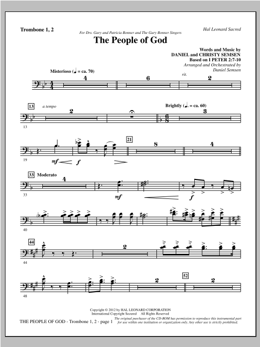 The People Of God - Trombone 1 & 2 Sheet Music