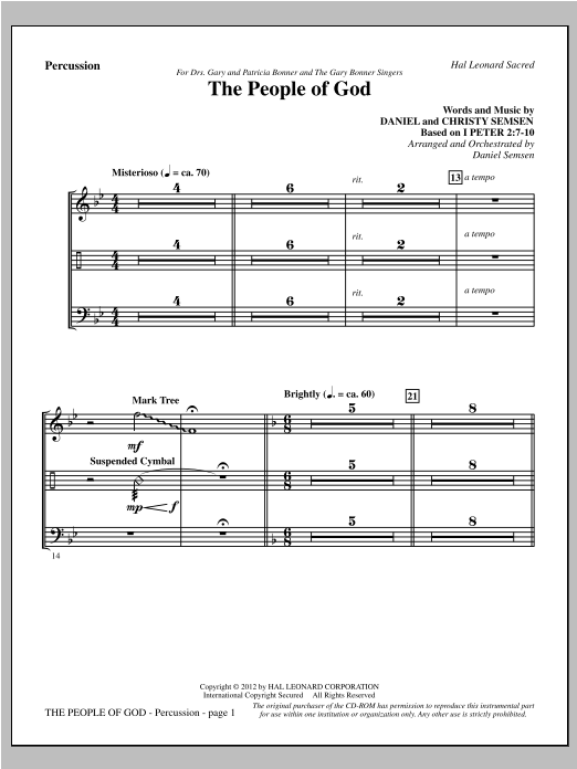 The People Of God - Percussion Sheet Music
