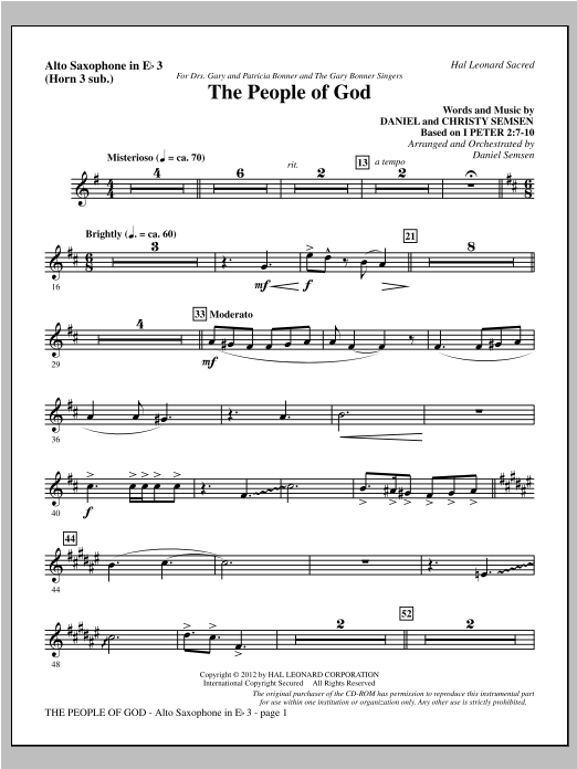 The People Of God - Alto Sax 3 (sub. Horn 3) Digitale Noten