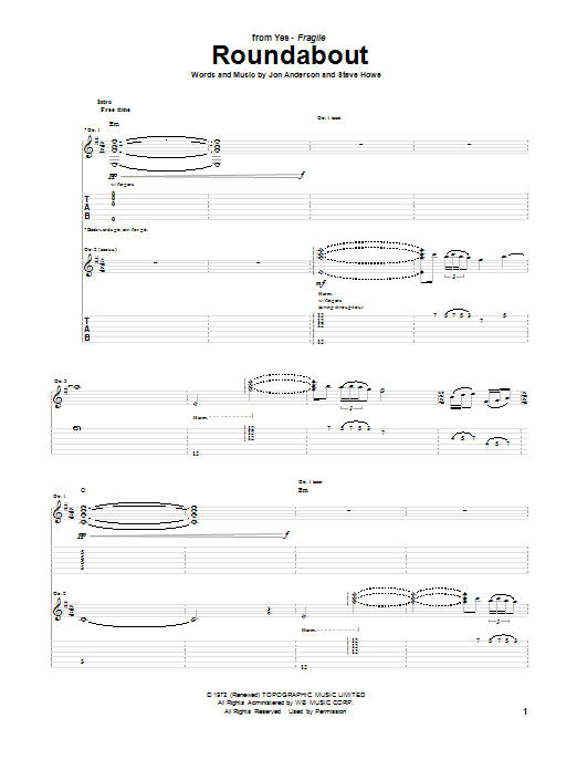 Roundabout Sheet Music