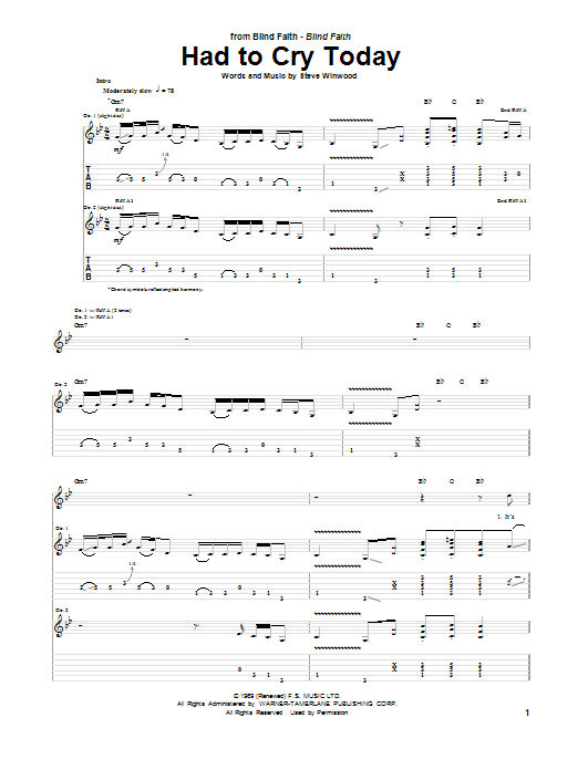Had To Cry Today Sheet Music
