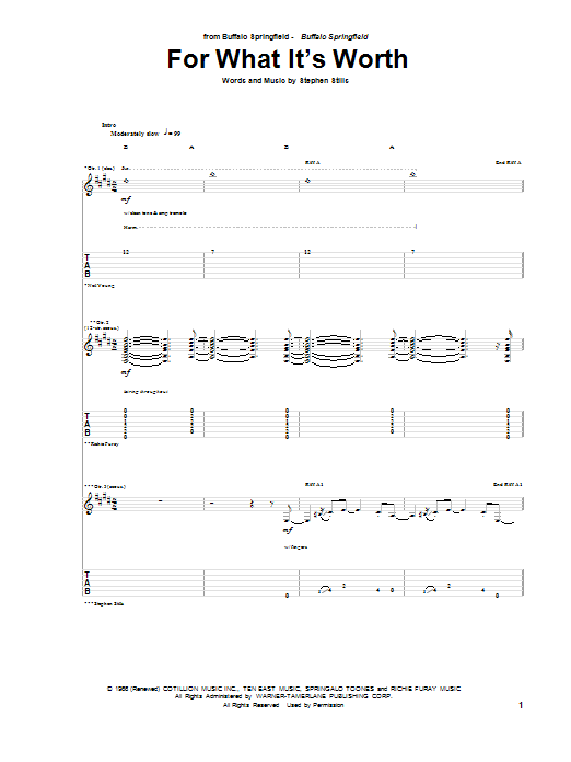 Tablature guitare For What It's Worth de Buffalo Springfield - Tablature Guitare