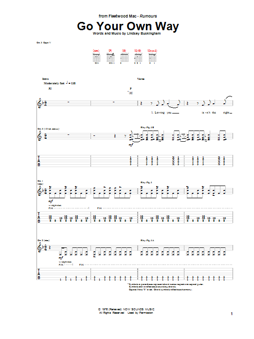 Go Your Own Way Sheet Music