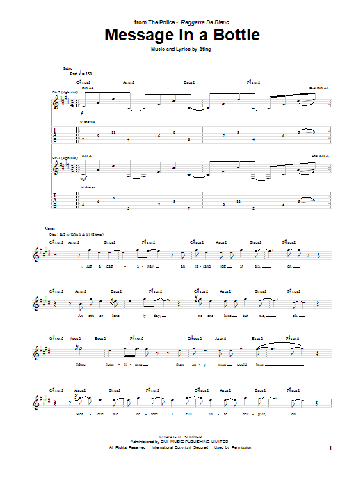 Message In A Bottle (Guitar Tab)